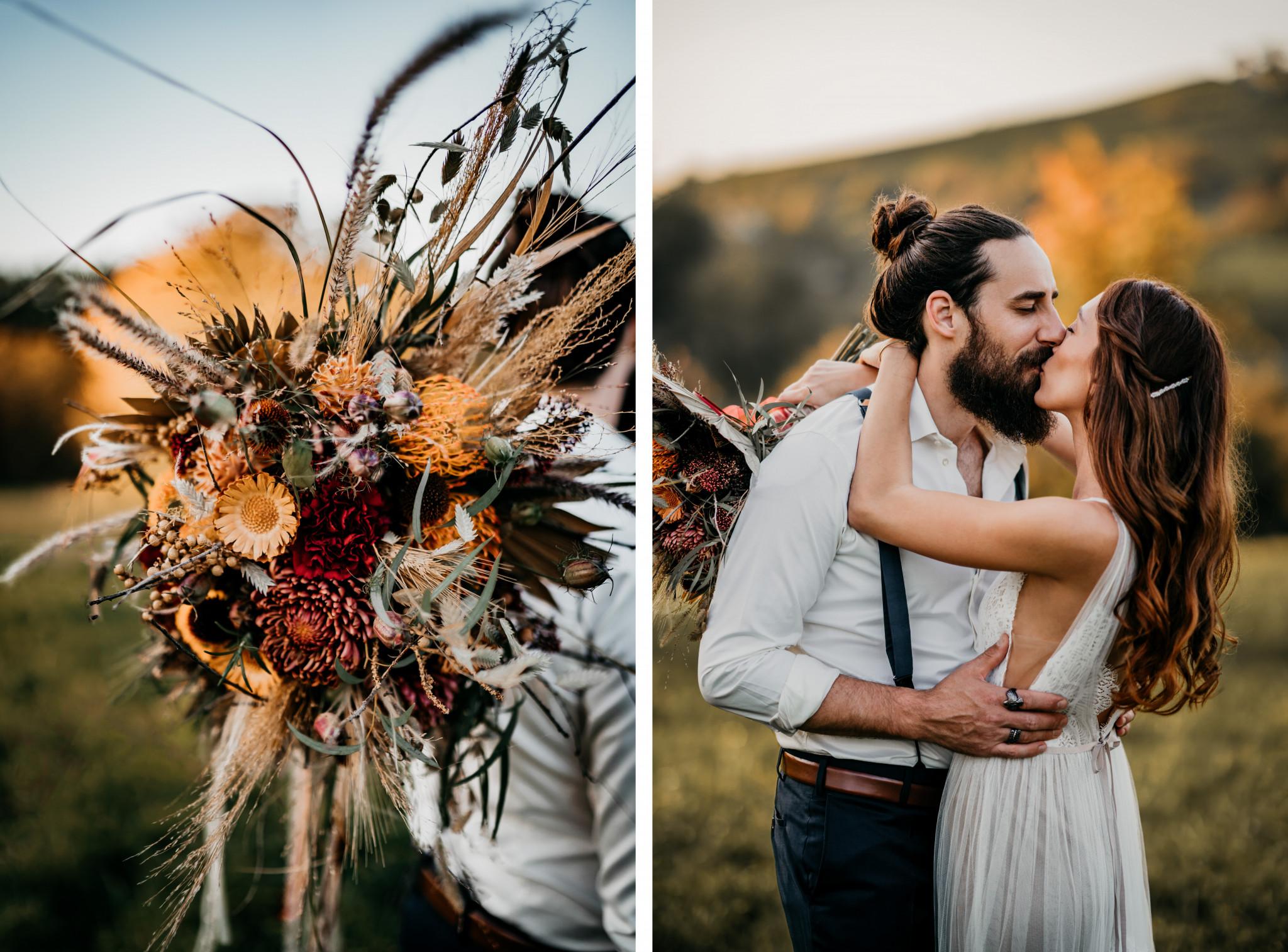 Bohemian After-Wedding-Shooting Brautstrauß Boho