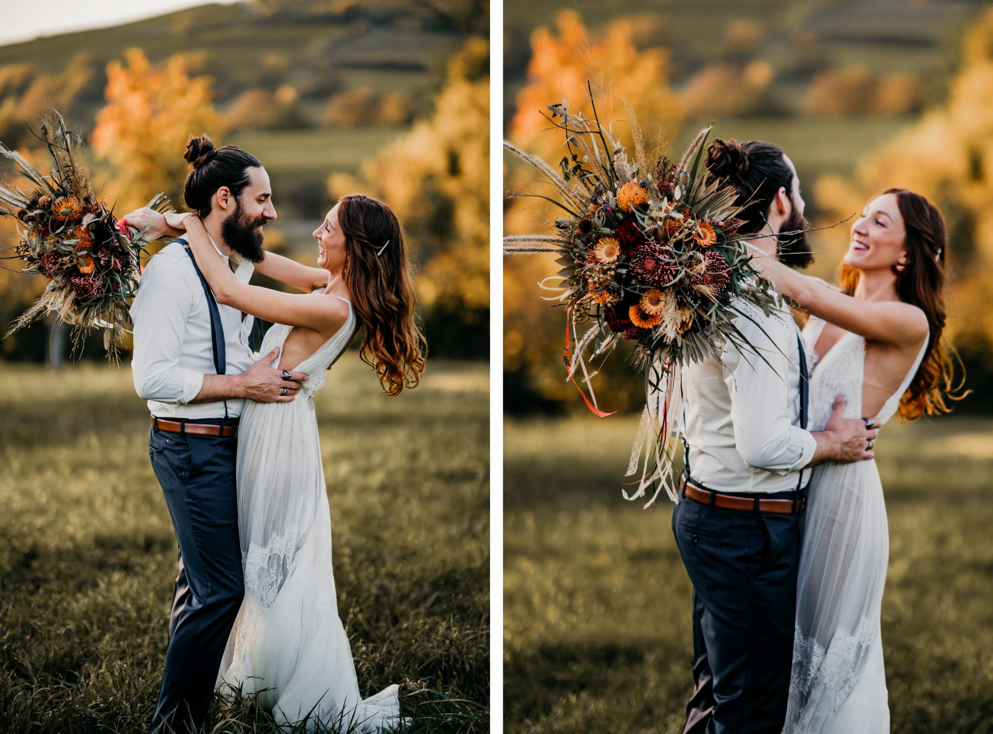Bohemian After-Wedding-Shooting bei Sonnenuntergang